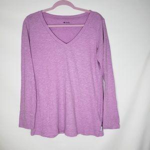 Columbia Lavender V Neck Long Sleeve Tee Shirt
